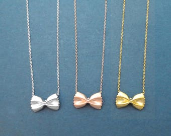 Pasta necklace Farfalle Ribbon necklace Dainty necklace Cute necklace Gold Silver Rose gold necklace Gift for her Gift for daughter