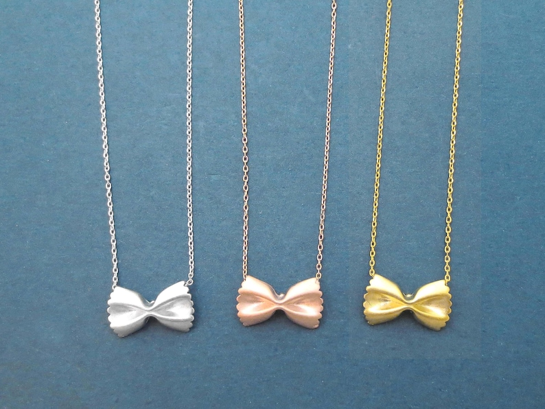 Pasta necklace Farfalle Ribbon necklace Dainty necklace Cute image 0