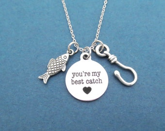 You're my best catch, Fish, Hook, Heart, Silver, Necklace, Birthday, Lovers, Friendship, Best friends, Gift, Jewelry