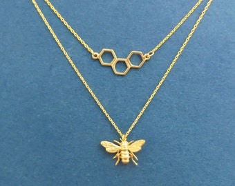 Bumble Bee necklace, Honey Bee necklace, Save the bees, Bee Comb Necklace, Gold Bee Necklace, Inssect Necklace, Set necklace, Gift for her