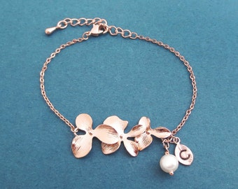 Personalized, Letter, Initial, White pearl, Orchid, Flower, Rose gold, Bracelet, Birthday, Wedding, Best friends, Christmas, Gift, Jewelry