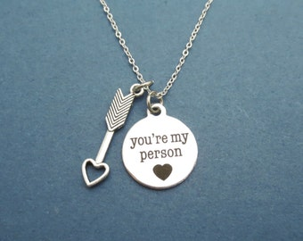 Cupid's arrow, You're my person, Heart, Silver, Necklace, Heart, Love, Cupid, Arrow, Birthday, Lovers, Best friend, Christmas, Gift, Jewelry