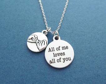 Pinky promise, All of me loves all of you, Silver, Necklace, Birthday, Lovers, Friendship, Best friends, Gift, Jewelry