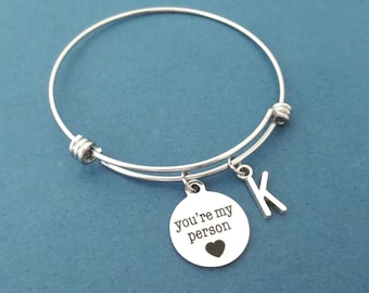 Personalized, Letter, Initial, You're my person, Heart, Silver, Bangle, Bracelet, Birthday, Best friends, Friendship, Gift, Jewelry