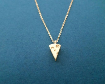 3D Cheese necklace, Gold necklace, Cheese lovers gift, Uniqu gift, Dainty gift, Cute gift, Christmas gift, New year gift