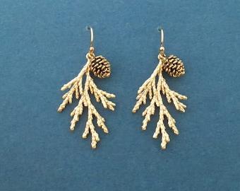 Forest earrings, Gold filled/ Sterling silver/ Rose gold hook earrins, Pine tree earrings, Pine cone earrings, Valentine's day gift