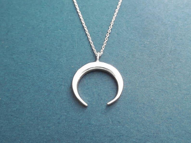 Horn Silver Necklace Modern Horn Horseshoe Necklace image 0
