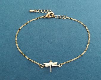 Dainty jewelry, Dragonfly bracelet, Adjustable bracelet, Gold bracelet, 14K gold plated bracelet, Birthday present, Valentins gift
