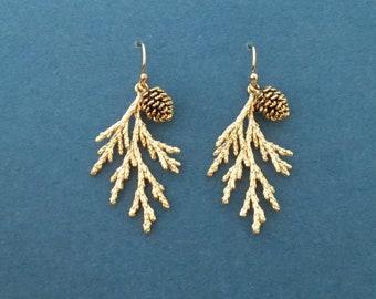 Pine tree earrings Pine cone earrings 14K gold filled/ Sterling silver/ Rose gold plated hook earrings Forest earrings Gift for her