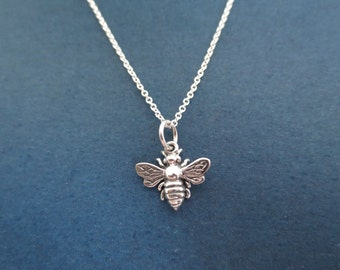 All sterling silver bumblebee necklace, Honey bee necklace, Gunuine sterling silver necklace, Cute gift, Unique gift, New year gift