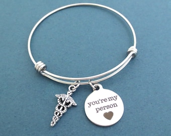 Insignia, You're my person, Silver, Bangle, Bracelet, Birthday, Best friends, Friendship, Gift, Jewelry