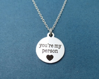 You're my person, Silver, Necklace, Heart, Love, Birthday, Lovers, Best friends, Friendship, Gift, Jewelry