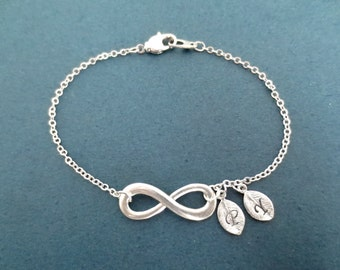 Personalized, 0-5, Letters, Initials, Infinity, Silver, Bracelet, Birthday, Best friends, Lovers, Valentine, Gift, Jewelry