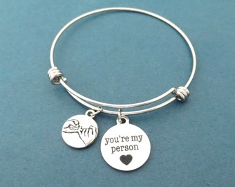 Pinky promise bracelet You're my person bracelet Silver bangle Gift for girlfriend Gift for her Gift for best friend