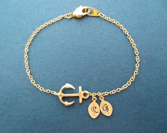 Personalized, 0-5, Letter, Initial, Anchor, Gold, Bracelet, Nautical, Marine, Bracelet, Birthday, Best friends, Christmas, Gift, Jewelry