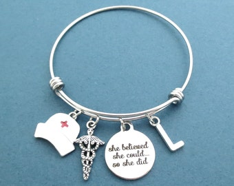 Personalized, Letter, Initial, She belived, she could... so she did, Nurse, Cap, Medical, Insignia, Silver, Bangle, Bracelet, Gift, Jewelry