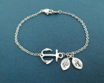 Personalized, Letter, Initial, Marine, Nautical, Anchor, Silver, Bracelet, Custom, Hand stamped, Lovers, Best friends, Gift, Jewelry