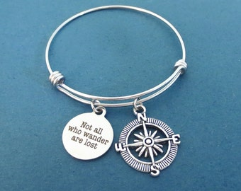 Not all who wander are lost, Compass, Silver, Bangle, Birthday, Best friends, Valentine, Gift, Jewelry