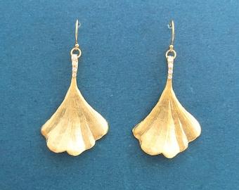 Cubic setting, Ginko, Gold filled/ Sterlings silver ear hook, Gold, Silver, Earrings, Birthday, Best friends, Sister, Gift, Jewelry