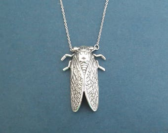 Silver cicada necklace, Modern unique necklace, Gift for girlfriend, Gift for birthday, Gift for graduation, Gift for women