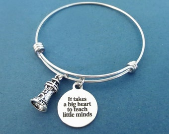 Iit takes a big heart to teach little minds, Lighthouse, Silver, Bangle, Bracelet, Birthday, Best friends, Sister, Gift, Jewelry