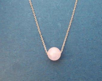 Genuine Rose quartz necklace, Ball necklace, Gold necklace, Silver necklace, Rose gold necklace, Gemstone necklace, Women's gift