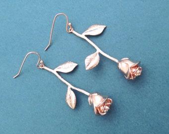 Rose earrings Gold Silver Rose gold earrings Flower earrings Gift for mom Gift for girlfriend Gift for wedding Gift for anniversary