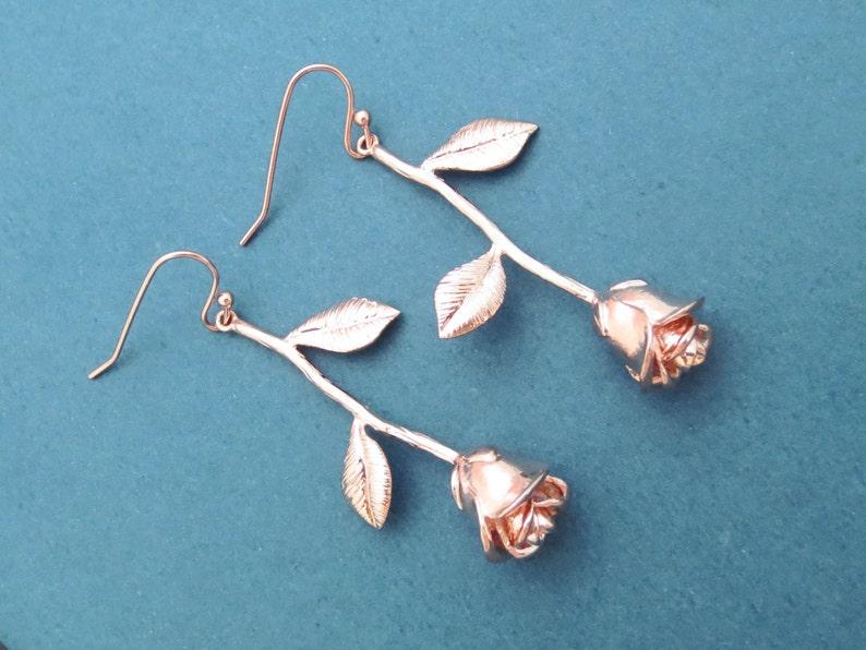 Rose earrings Gold Silver Rose gold earrings Flower earrings image 0