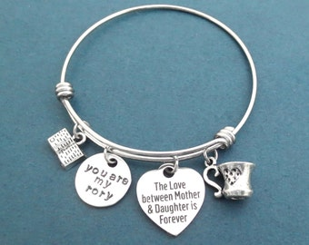 The Love between Mother & Daughter is Forever, you are my Rory, Book, Mug, Coffe, Cup, Bangle Bracelet, Gift for mom Gift for daughter