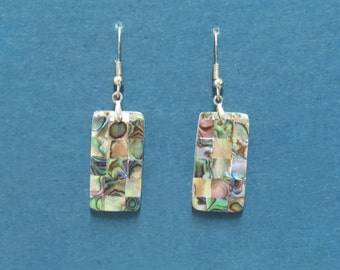 Mosaic patchwork abalone earrings,abalone shell,shell earrings,abalone jewelry,abalone,earrings,abalone rectangle earrings,statement shell