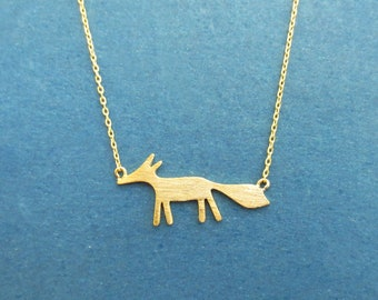 Fox necklace, Animal necklace, Cute necklace, Gold necklace, Silver necklace, Gift for daughter, Gift for best friend