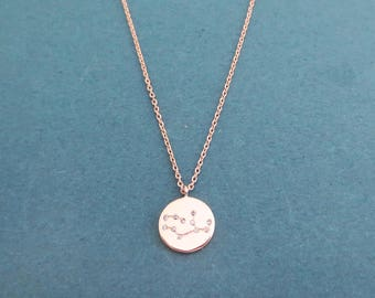 Cubic Zodiac 12 sign star disc necklace, Gold necklace, Silver necklace, Rose gold necklace, Gift for birthday, Gift for friendship