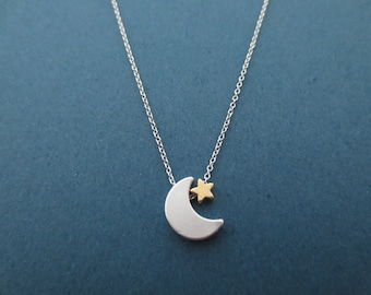 Crescent moon necklace Silver moon, Gold star, Silver, Necklace, Birthday, Lovers, Sister, Mom, Christmas, New year, Gift, Jewelry