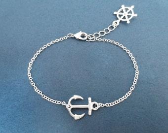 Anchor and ship wheel, Silver, Bracelet, Nautical, Marine, Bracelet, Birthday, Best friends, Sister, Gift, Jewelry