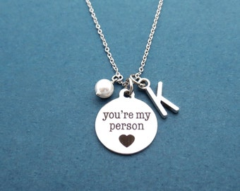 Personalized, Letter, Initial, White, Pearl, You're my person, Silver, Necklace, Birthday, Lovers, Best friends, Christmas, Gift, Jewelry