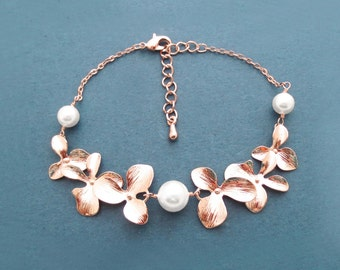 Triple, Pearl, Double, Orchid garden, Gold, Silver, Rose gold, Bracelet, Birthday, Wedding, Anniversary, Engagement, Christmas, Gift