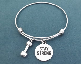 STAY STRONG, Dumbbell, Silver, Bangle, Bracelet, Birthday, Best friends, Sister, Gift, Jewelry