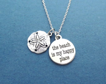 Sand, Dollar, the beach is my happy place, Necklace, Cute, Sand dollar, Happy, Beach, Necklace, Birthday, Friendship, Sister, Gift, Jewelry