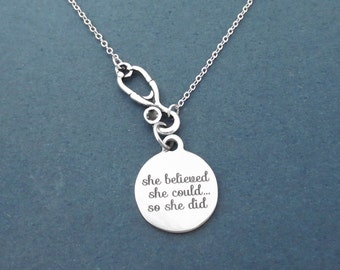 She believed She could...So she did necklace Stethoscope necklace Silver necklace Nurse gift COVID overcome gift Doctor gift Gift for her