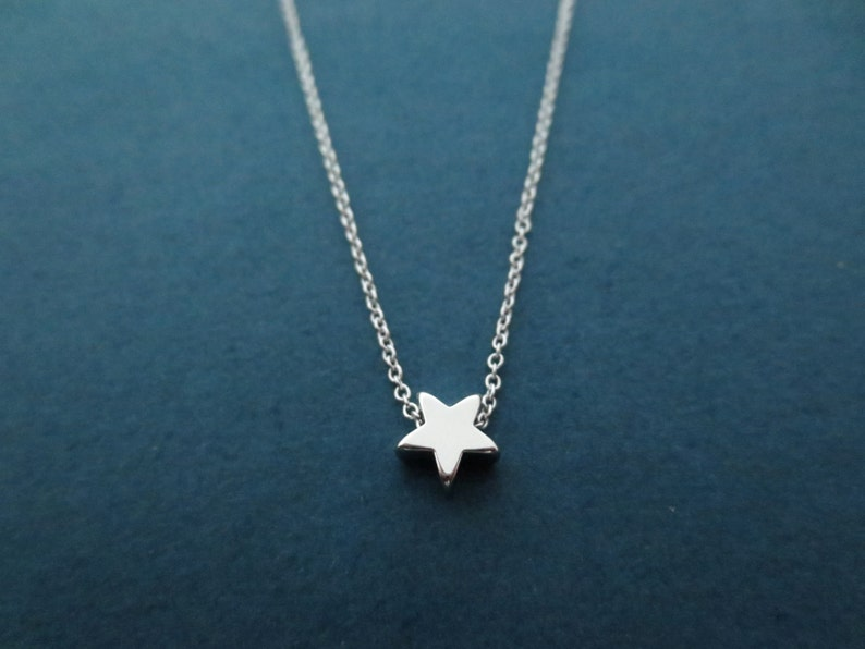Tiny star necklace Cute dainty necklace Silver star necklac image 0