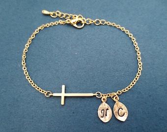 Personalized bracelet, 0-3 initial bracelet, Cross bracelet, Personalized gift, Christian gift, Boyfriend Girlfriend gift, Teacher gift