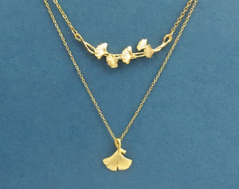 Ginko necklace set, Ginko leaf necklace, 14K gold necklace, Pendant necklace, Christmas gift, Girl friend gift, Bridesmaid gift