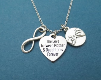The Love between Mother & Daughter is Forever, Infinity, Pinky, Promise, Silver, Necklace, Mom, Daughter, Mother's day, Gift, Jewelry