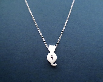 Personalized gift Handstamped necklace Initial necklace Cat necklace Silver necklace Gift for him Gift for her