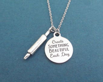 Create SOMETHING BEAUTIFUL Each Day, Baking, Rolling pin, Silver, Necklace, Birthday, Best friends, Sister, Christmas, Gift, Jewelry