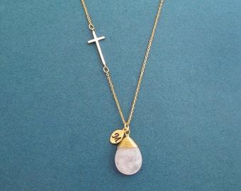 Personalized necklace Genuine Rose quartz necklace Sideway necklace Cross necklace Initial necklace Custom jewelry Handmade jewelry