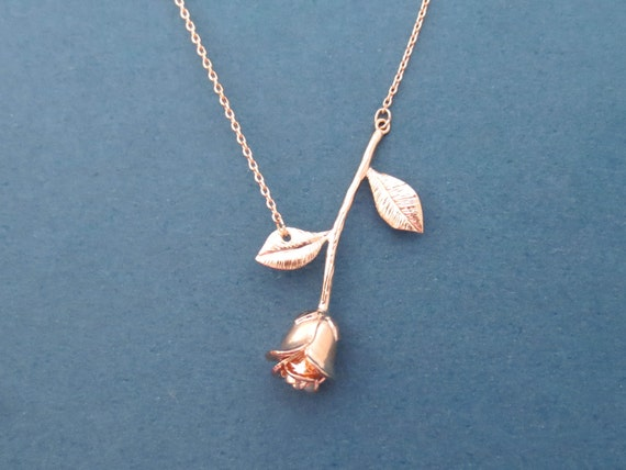 Beautiful Rose Gold Rose Necklace Flower Necklace Etsy