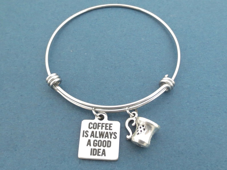 Coffee is always a good idea Coffee Cup Silver Bangle image 0