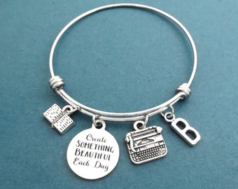 Personalized, Letter, Initial, Creat SOMETHING BEAUTIFUL Each Day, Typewriter, Book, Silver, Bangle, Bracelet, Gift, Jewelry