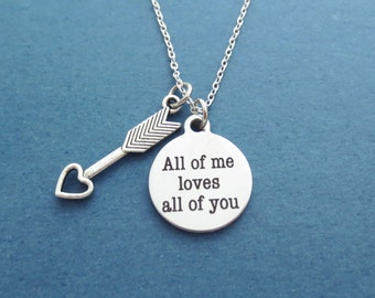Cupid's arrow, All of me loves all of you, John legend, Lyric, Silver, Necklace, Birthday, Best friends, Lovers, Gift, Jewelry